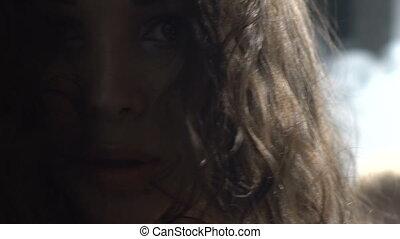 Closeup portrait of beautiful brunette woman
