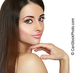 Closeup portrait of beautiful makeup woman looking isolated on white background