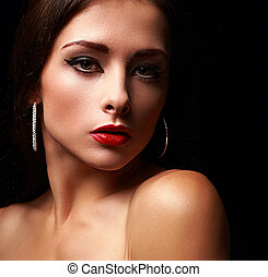 Closeup portrait of beautiful makeup woman on black background