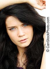 Closeup portrait of beautiful woman