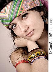 beautiful young hippie woman - closeup portrait of beautiful...