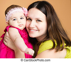 Closeup portrait of beautiful young mother with daughter