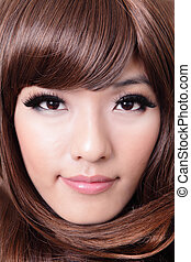 closeup portrait of beautiful young woman with brown hairstyle