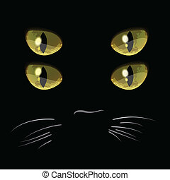 Closeup portrait of black cat with four eyes