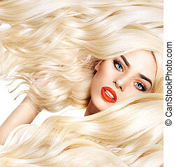 Closeup portrait of blond lady with bushy haircut - Closeup...