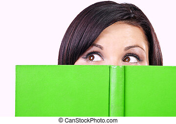portrait of brunette with green book