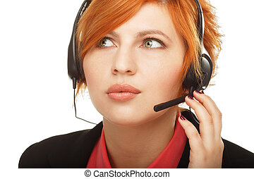 Closeup portrait of female customer service representative or call center worker or operator or support staff speaking with head set