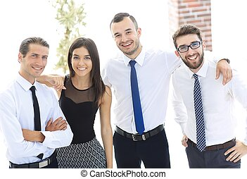 closeup portrait of friendly business team