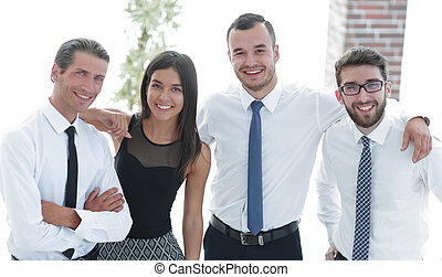 closeup portrait of friendly business team