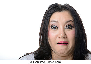 Closeup portrait of frightened and shocked asian woman isolated
