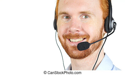 Closeup portrait of happy customer service representative wearing headset