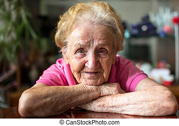 happy elderly woman.