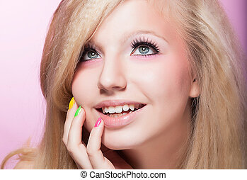 Closeup Portrait of Happy Toothy Smiling Woman - Blonde Hair