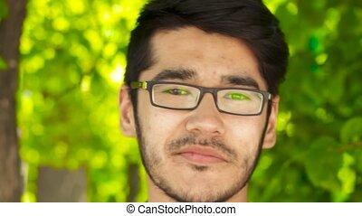 Closeup portrait of man looking in camera