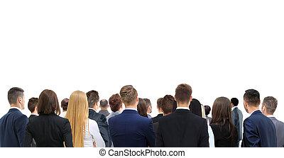 Closeup portrait of many men and women looking upwards  standing