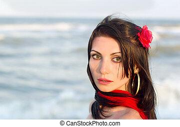 Closeup portrait of nice young brunette