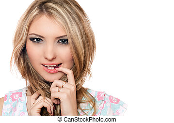 Closeup portrait of playful young blonde. Isolated