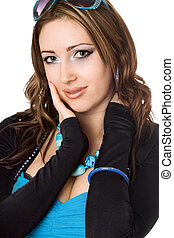 Closeup portrait of pretty young woman