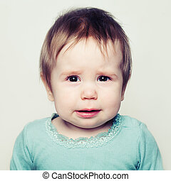 Closeup portrait of sad baby. Small child (6 months old)