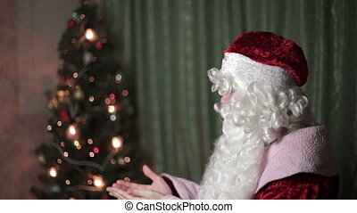 Closeup portrait of Santa Claus, new year, christmas