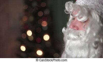 Closeup portrait of Santa Claus, new year, christmas