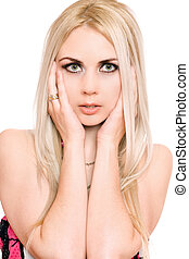 Closeup portrait of sensual young blonde. Isolated