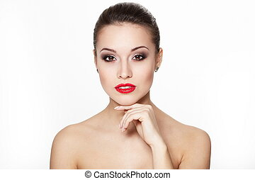 closeup portrait of sexy caucasian young woman model with glamour red lips,bright makeup, eye arrow makeup, purity complexion. Perfect clean skin.