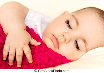 Closeup portrait of sleeping baby