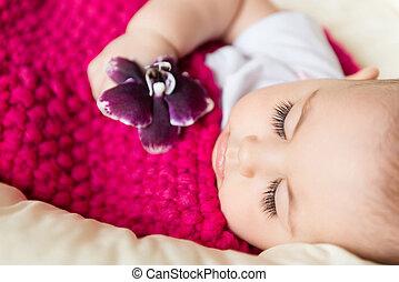 Closeup portrait of sleeping baby