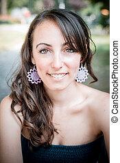 closeup portrait of smiling beautiful woman