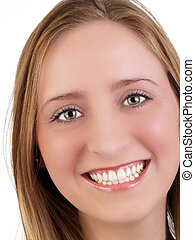 Closeup Portrait of smiling caucasian woman green eyes