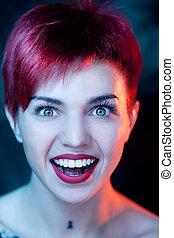 Closeup portrait of surprised beautiful woman