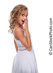 Closeup portrait of surprised young lady isolated on white with copyspace