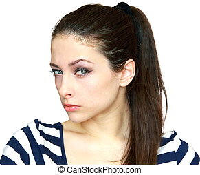 Closeup portrait of suspicious beautiful young woman...