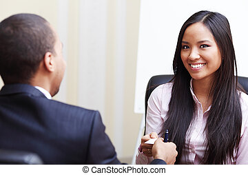Closeup portrait of two successful business executive exchanging business card