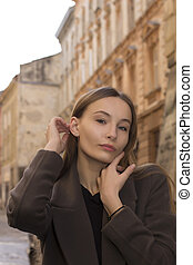 Closeup portrait of woman at the street