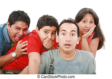 Closeup portrait of young group with a very surprised look on them face isolated on white.