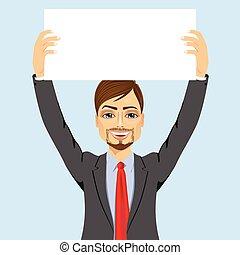 businessman holding white blank board