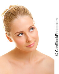 Closeup portrait of young woman