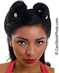 Closeup portrait young hispanic woman with red lipstick