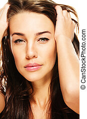 closeup portraiture of a gorgeous brunette woman