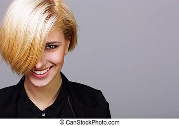 closeup, portret, od, niejaki, młody, radosny, kobieta, na, szare tło
