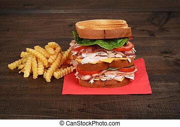closeup, poulet, sandwich club