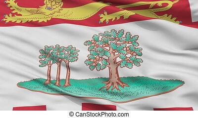 Closeup Prince Edward Island city flag, Canada - Prince...