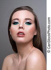 closeup, profesjonalny, piękno, do góry, makeup., oczy, ustalać