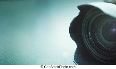 closeup, professionnel, appareil photo, coup