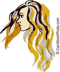 Closeup profile portrait of beautiful young woman