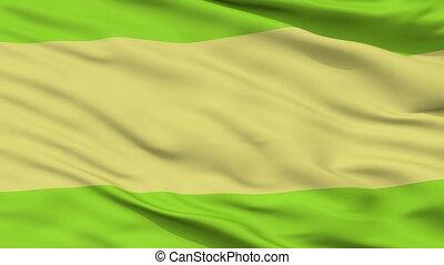Closeup Pueblobello city flag, Colombia - Pueblobello...