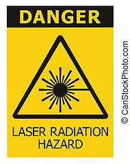 closeup, puissance, radiation, macro, danger, signage, étiquette, isolé, laser, icône, faisceau, signe, jaune, avertissement, danger, grand, sécurité, sur, texte, noir, élevé, autocollant, triangle