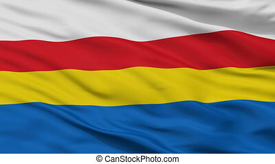 Closeup Pulawy city flag, Poland